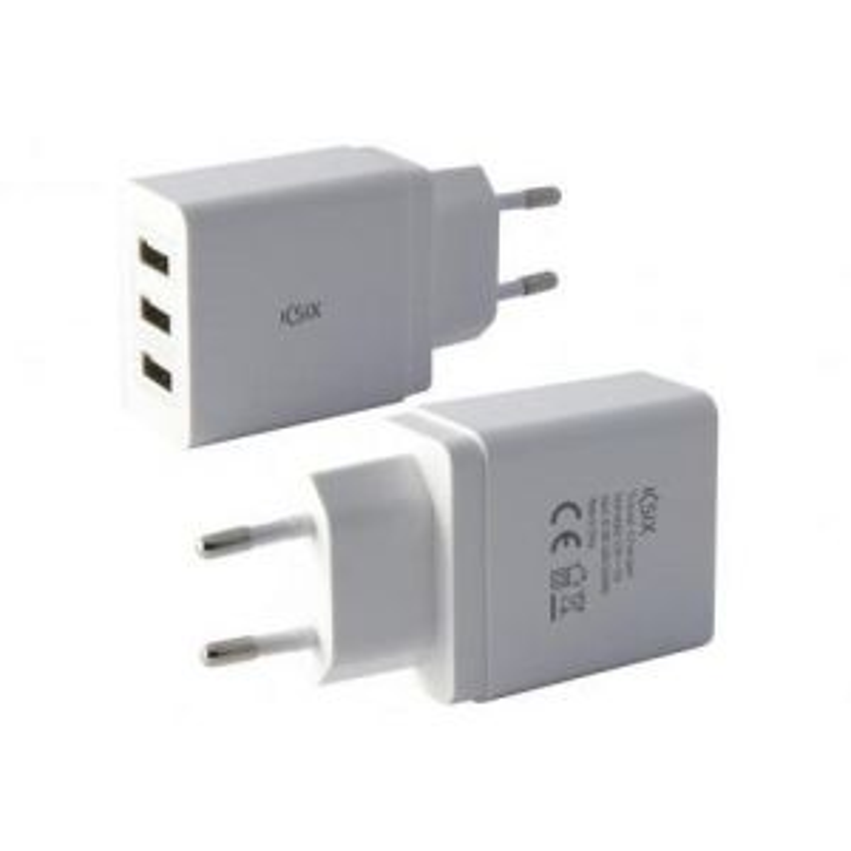 Cargador Ksix RED 3 USB 3.1 CARREGA INTEL. BLANCO
