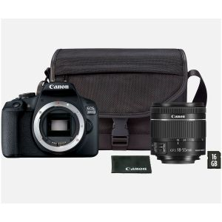 Cámara de fotos Canon CAMERA EOS2000D EF-S 18-55 IS II 24,1MP LCD 3 WIFI NEGRA PACK