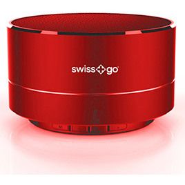 Altavoz Swiss+go Bluetooth Portatil - CLIO BT-001 Metalico Rojo 3W, Luz LED, FM, MicroSD, Funcion manos libres, 72x42 mm